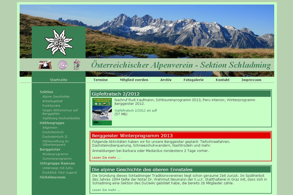 Screenshot alpenverein-schladming.at
