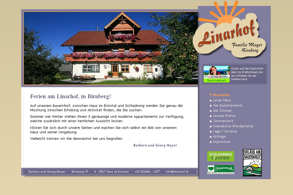 Screenshot linarhof.at