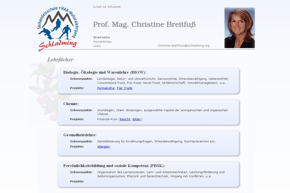 Screenshot Prof. Mag. Christine Breitfuß auf schladming.org
