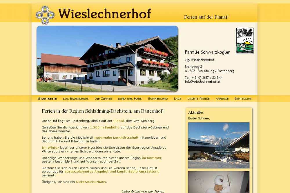 Screenshot wieslechnerhof.at