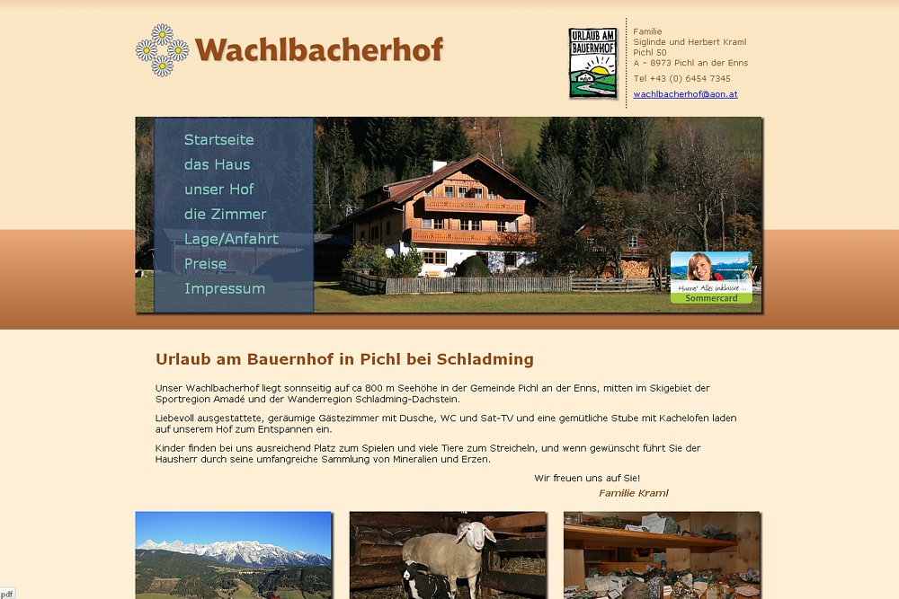 Screenshot wachlbacherhof.at