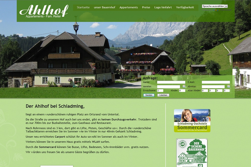 Screenshot ahlhof.at