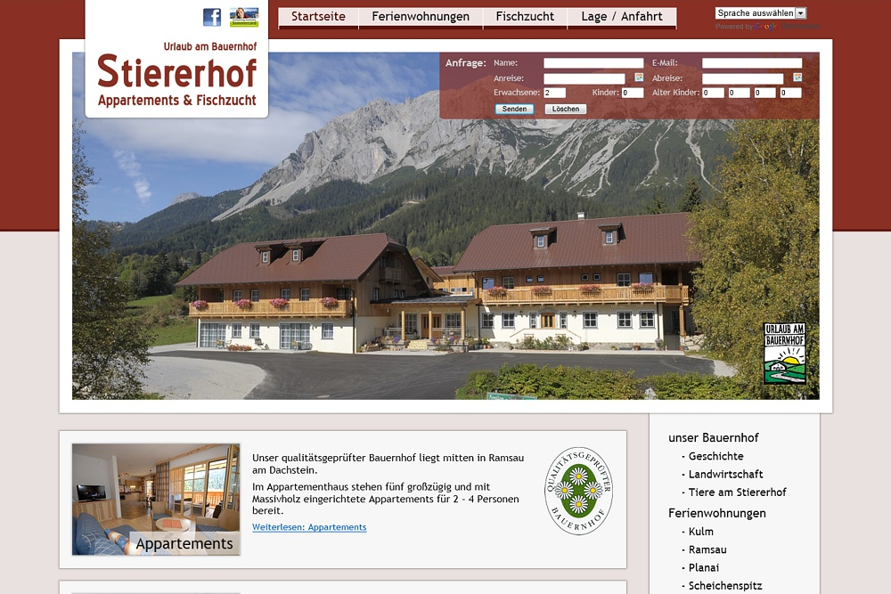Screenshot stiererhof.at