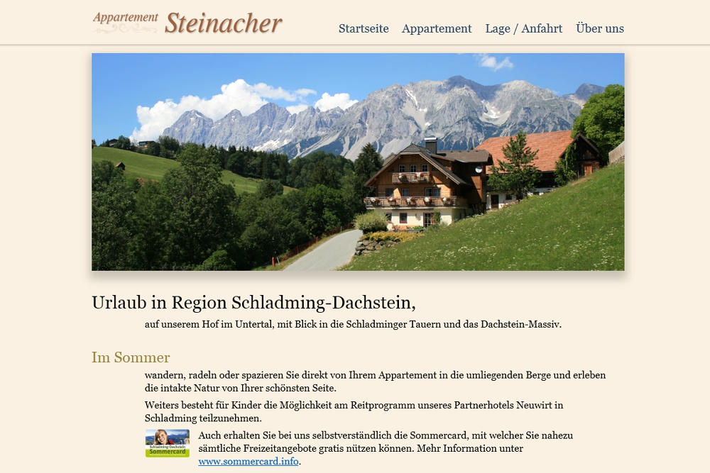 Screenshot appartement-steinacher.com