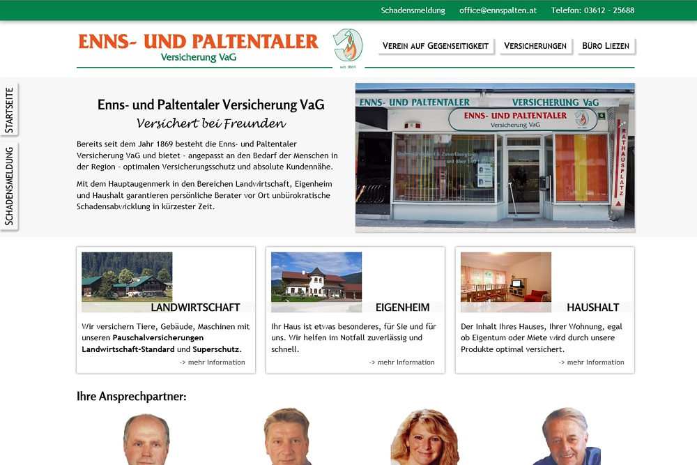 Screenshot enns-paltentaler-versicherung.at