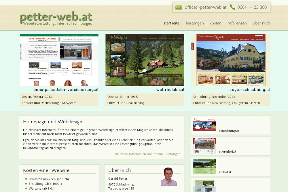 Screenshot petter-web.at