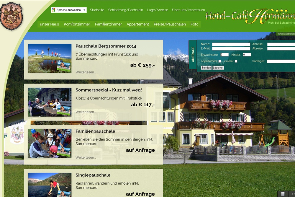 Screenshot cafe-hermann.at