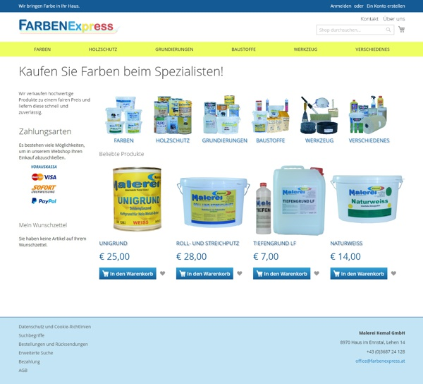 Screenshot farbenexpress.at
